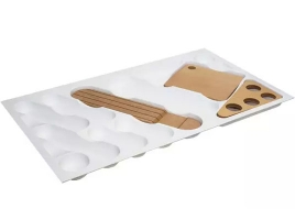 Лоток для столовых приборов в ящик 90 см, пластик белый RAL9010