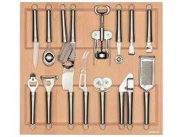 Лоток для столовых приборов 60 см с кухонными приборами (14 предметов), бук