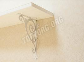 Открытая навесная полка Классика - белая, патина золото