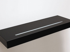 Полка-светильник 60х20 см, черная глянцевая