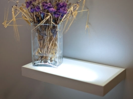 Полка-светильник 120х20 см, алюминий + стекло