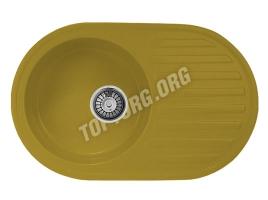 Овальная мойка из искусственного камня, цвет желтый (модель 13)