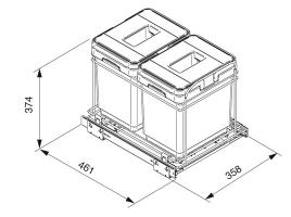 Система сортировки мусора в ящик от 400 мм
