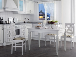 Стол кухонный раскладной 1200 х 800 ясень белый, патина серебро
