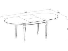 Стол кухонный раскладной 1600 х 1000 Ясень, белый патина серебро