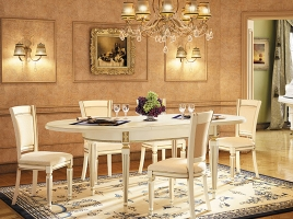 Стол кухонный раскладной 1600 х 1000 Белый, патина золото