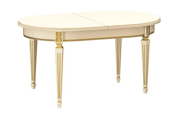Стол кухонный раскладной 1600 х 1000 (Белый, патина золото)