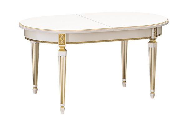 Стол кухонный раскладной 1600 х 1000 (Ясень, белый патина золото)