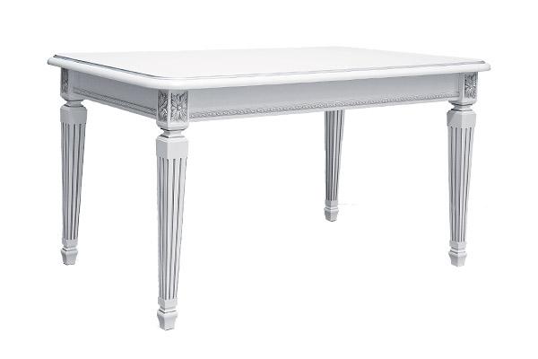 Стол кухонный раскладной 1400 х 900 (Белый, патина серебро)