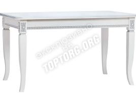 стол обеденный нераскладной белый с серебряной патиной