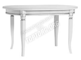овальный обеденный стол белый с серебряной патиной