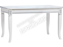 стол обеденный раскладной белый с серебряной патиной