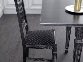 стул для кухни черный деревянный патина серебро