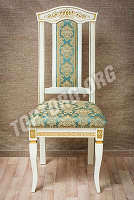 Белый стул с золотой патиной, обивка бирюза-золото мод.1