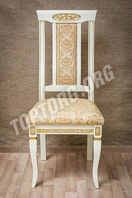 Белый стул с золотой патиной, золотоя обивка мод.5