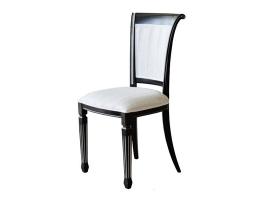 Черный стул с серебряной патиной, белая обивка (Алекс-3)