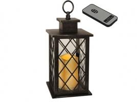 Светильник декоративный LED, с таймером, 30 см, пластик черный (с пультом ДУ)