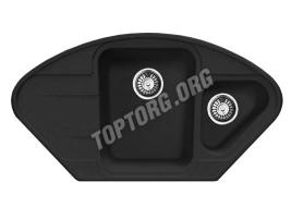 Угловая мойка из искусственного камня, цвет черный (модель 17)