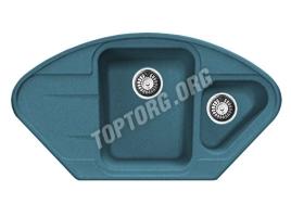 Угловая мойка из искусственного камня, цвет голубой (модель 17)