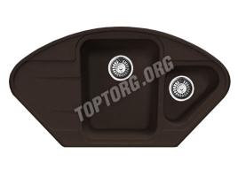Угловая мойка из искусственного камня, цвет шоколад (модель 17)