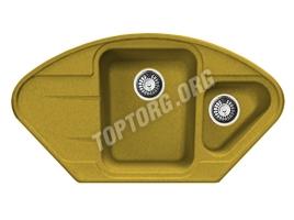 Угловая мойка из искусственного камня, цвет желтый (модель 17)