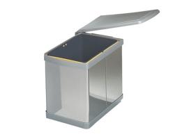 Ведро для мусора выдвижное (16л), пластик серый металлик + сталь нержавеющая (201.MT)
