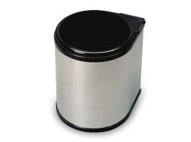 Ведро для мусора выдвижное (13л), пластик чёрный + сталь нержавеющая (272.NE)