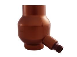 Отборник дождевой воды с фильтром и переливным клапаном, цвет: медь