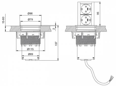 Встраиваемая розетка в столешницу Bachmann (2 розетки Шуко 220В)
