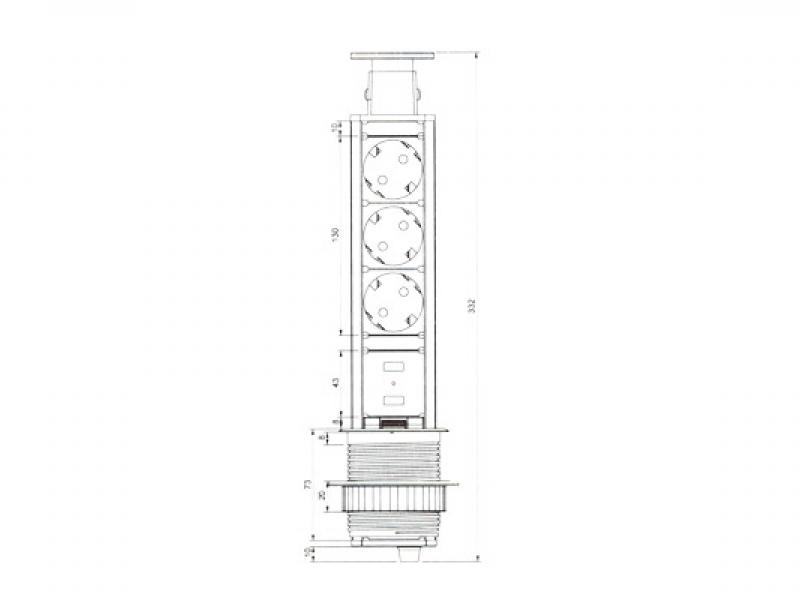 Встраиваемая выдвижная розетка в столешницу - GLS 3 euro 2 USB