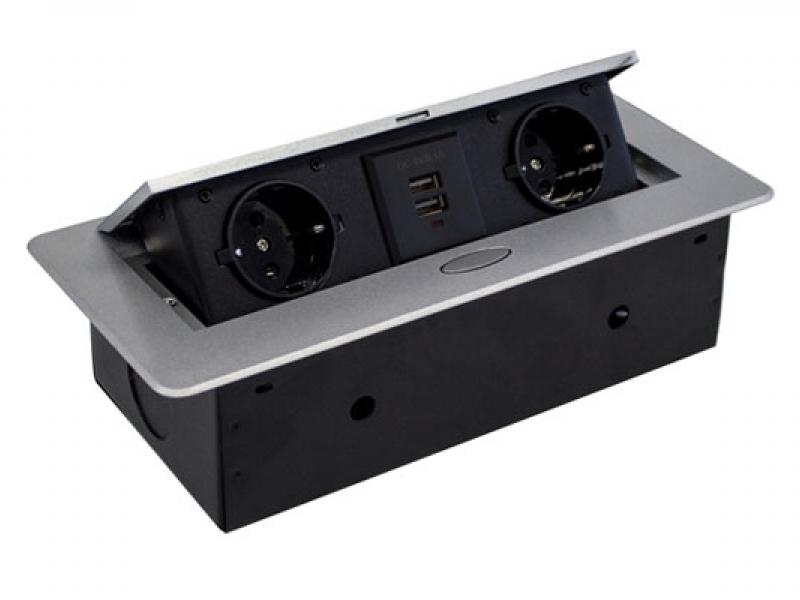 Встраиваемая выдвижная горизонтальная розетка в столешницу - GLS 2 euro 2 USB Серебро