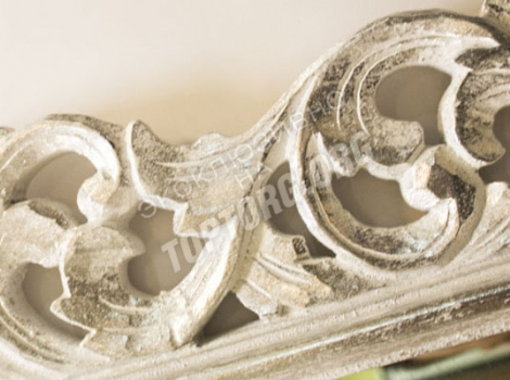 зеркало в раме 940х2000 мм, белый цвет, патина серебро