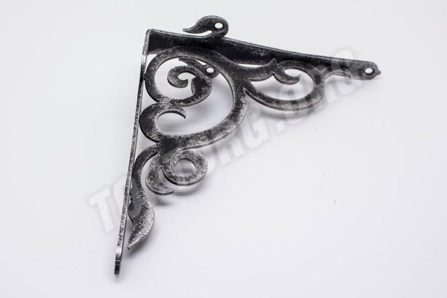 кронштейн для полки цвет черный с серебряной патиной