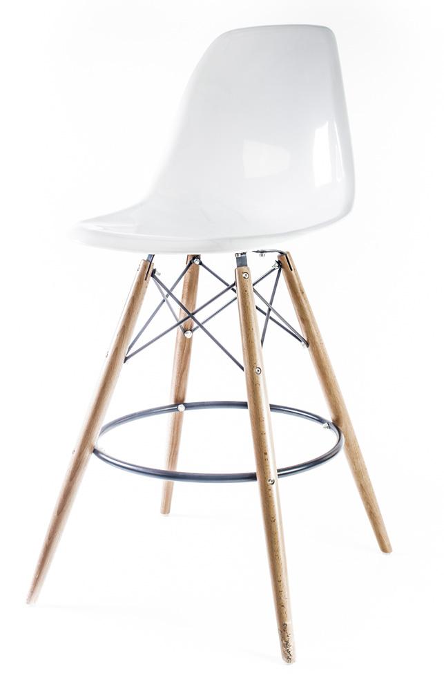 белый глянцевый барный дизайнерский стул Eames DSW
