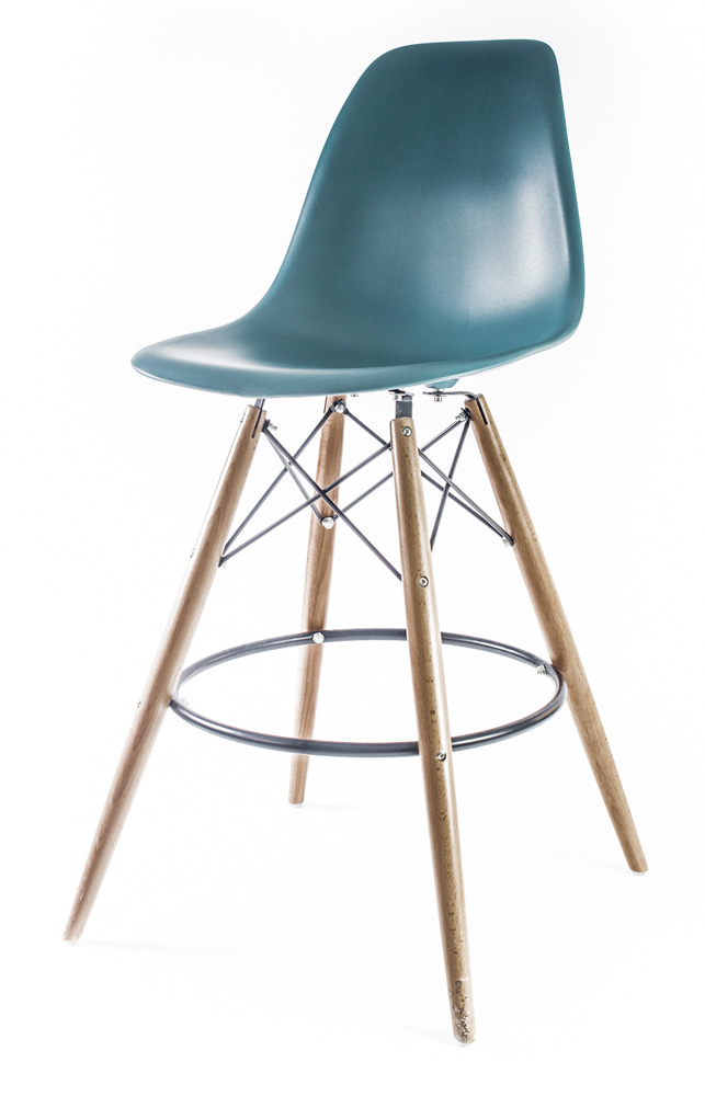 барный дизайнерский стул Eames DSW цвета морской волны