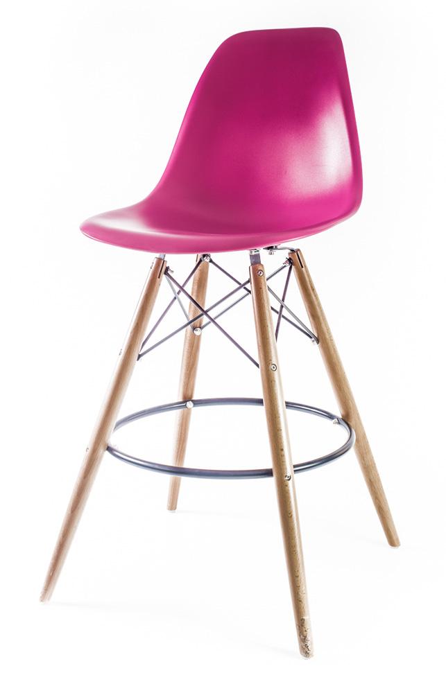 розовый барный дизайнерский стул Eames DSW