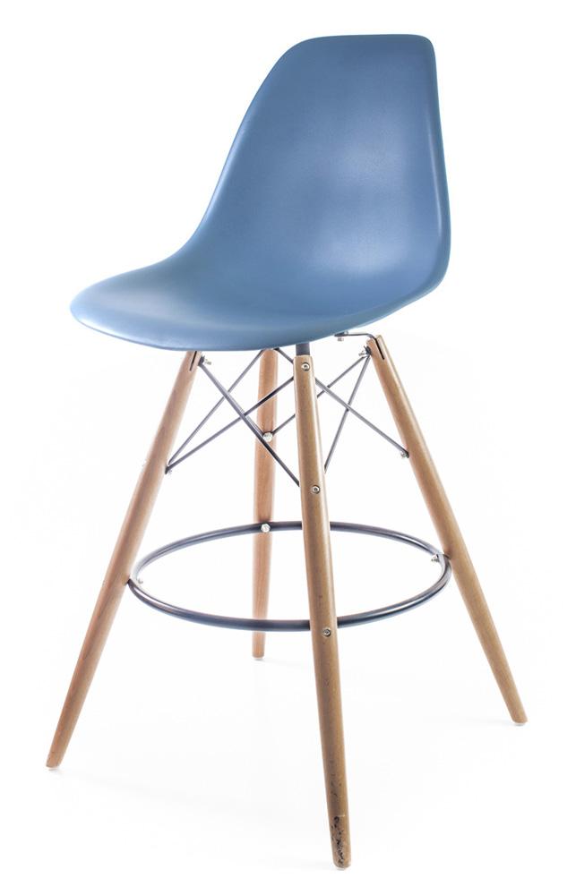 серо-голубой барный дизайнерский стул Eames DSW