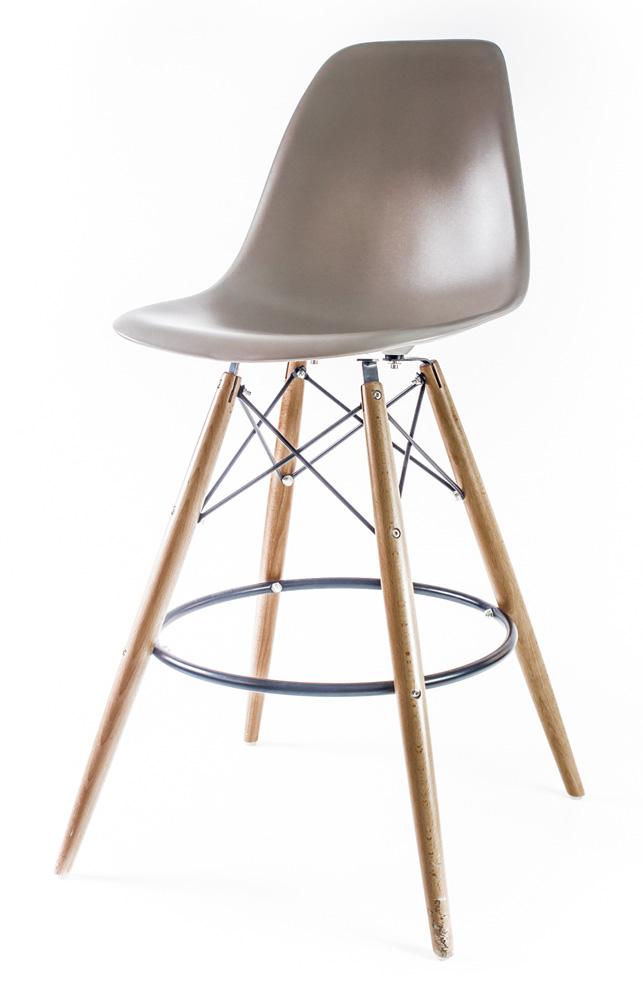 серый барный дизайнерский стул Eames DSW