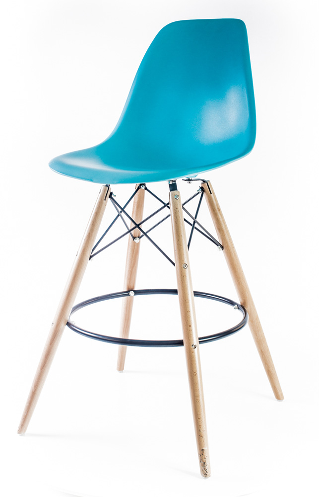 барный дизайнерский стул Eames DSW цвет синий океан