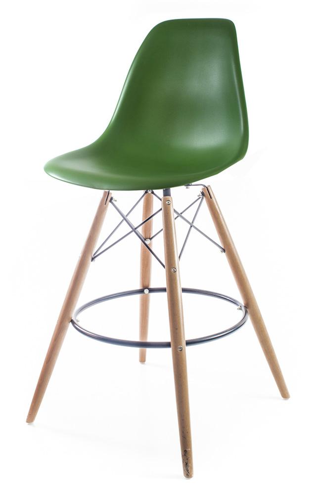 тёмно-зелёный барный дизайнерский стул Eames DSW