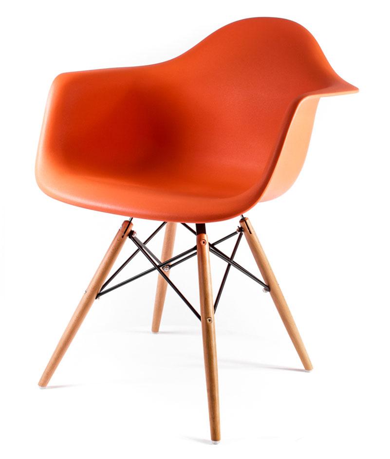 оранжевый дизайнерский стул Eames DAW