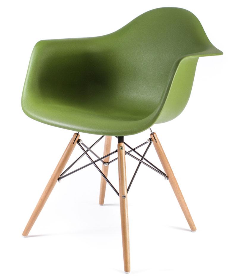 темно-зелёный дизайнерский стул Eames DAW