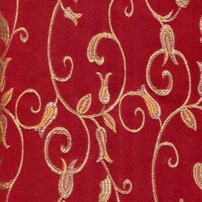 02. Ткань для обивки кухонного стула Жаккард красные цветы