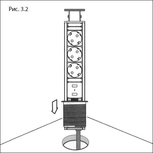 Встраиваемая выдвижная розетка в столешницу - GLS 3 euro 2 USB - монтаж