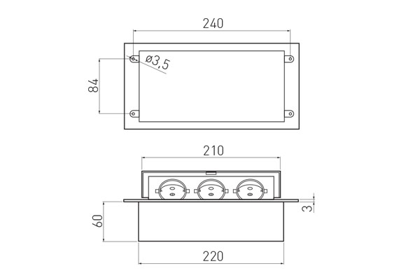 Встраиваемая выдвижная горизонтальная розетка в столешницу - GTV AE-PB03GS-10