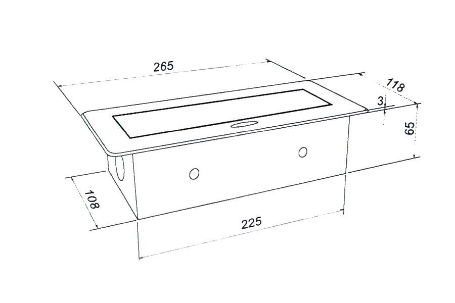 Встраиваемая выдвижная горизонтальная розетка в столешницу - GLS 2 euro 2 USB чертеж и схема