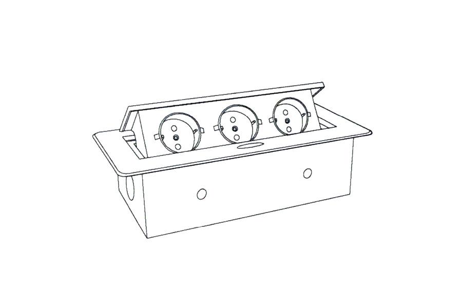 Встраиваемая выдвижная горизонтальная розетка в столешницу - GLS 3 euro чертеж и схема