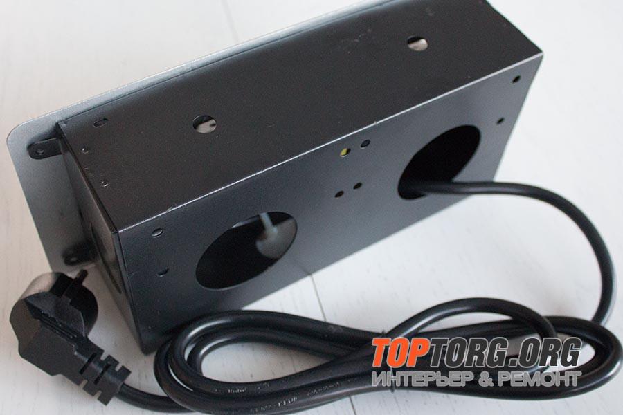 Встраиваемая выдвижная горизонтальная розетка в столешницу - GLS 2 euro 2 USB серебристая
