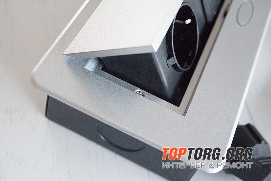 Встраиваемая выдвижная горизонтальная розетка в столешницу - GLS 2 euro2 USB серебристая